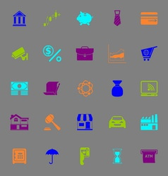 Banking and financial color icons on gray vector image vector image