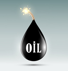 bomb with a wick in the form of oil droplets vector image vector image
