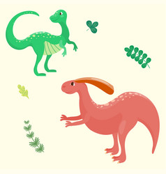 cartoon dinosaurs isolated vector image