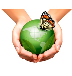 Green world with leaf and butterfly in woman hands vector image vector image