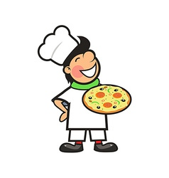 Happy Chef with a Freshly Baked Pizza vector image vector image
