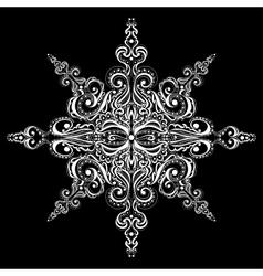 Ornamental white snowflake vector image vector image