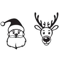 Santa and deer face vector