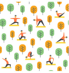 seamless yoga poses pattern people in park vector image vector image