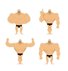 Set of strong men Healthy guys with big muscles vector image vector image