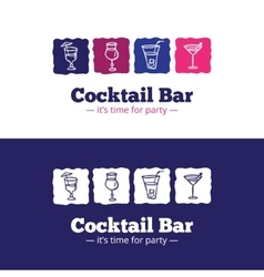 trendy cocktail bar logo in doodle style vector image