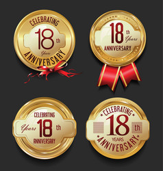 anniversary retro golden labels collection 18 vector image vector image
