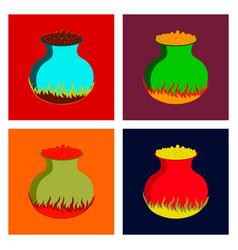 assembly flat potion cauldron vector image vector image