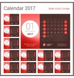 Desk Calendar for 2017 Year Design Print vector image vector image