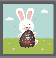 happy easter with bunny and chocolate egg vector image