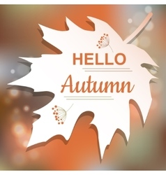 Hello Autumn orange card design vector image vector image