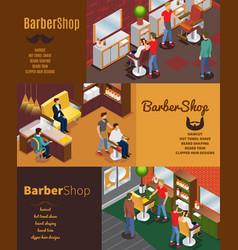 isometric barber shop horizontal banners vector image vector image