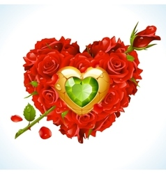 red Roses in the shape of heart vector image vector image