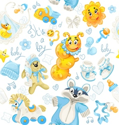 Seamless pattern of blue clothing toy and stuff vector image vector image