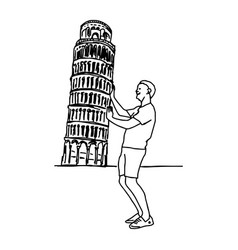 tourist push leaning tower of pisa vector image
