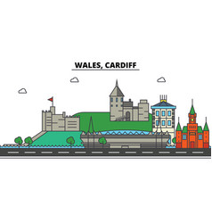 wales cardiff city skyline architecture vector image