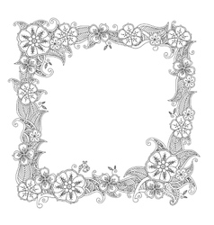 Floral hand drawn square frame in zentangle style vector image vector image