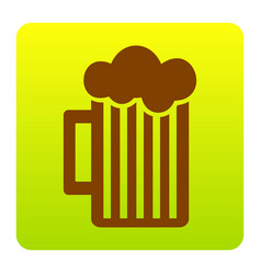 Glass of beer sign brown icon at green vector
