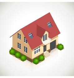 House 3d icon with green bushes vector image vector image