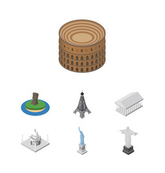 isometric travel set of india mosque athens new vector image