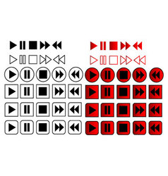60 Play Pause Stop Icons vector image vector image