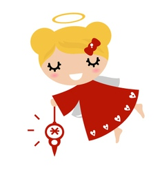 Adorable angel girl with Xmas decoration - red vector image