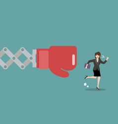 Business woman run away from big boxing glove hand vector