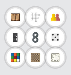 flat icon games set of guess dice cube and other vector image vector image