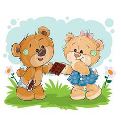 funny teddy bear sweet tooth treats his vector image vector image