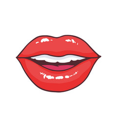 slightly ajar mouth with bright red glossy lips vector image