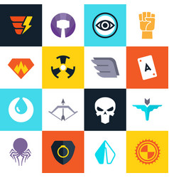 Superhero badges with super weapons vector