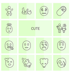 14 cute icons vector