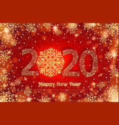 2020 happy new year holiday banner with sparkling vector image