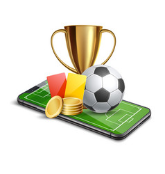 3d golden cup football card betting promo vector image