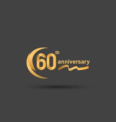 60 years anniversary logotype with double swoosh vector