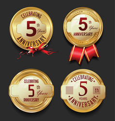 Anniversary retro golden labels collection 5 years vector