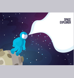 Astronaut walking on moon vector