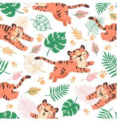 baby tiger seamless pattern cute childish cartoon vector image