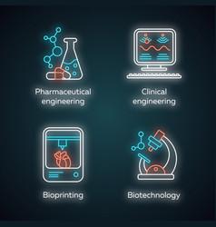 bioengineering neon light icons set medical vector image
