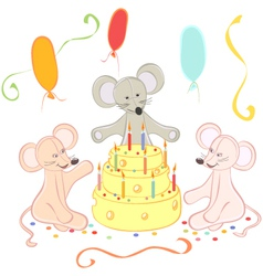 Birthday animals card vector