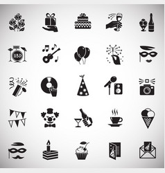 birthday party icons set on white background for vector image