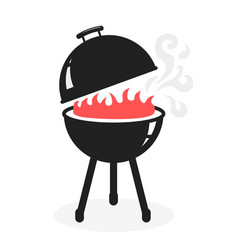 black bbq grill cooking with smoke and flame icon vector image