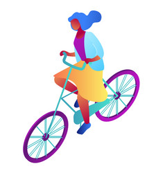 businesswoman riding a bike isometric 3d vector image