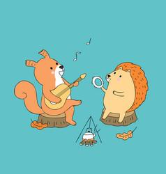 Cartoon cute autumn squirrel and hedgehog vector