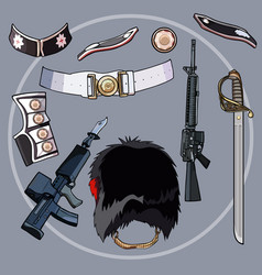 cartoon elements of the outfit of a soldier of the vector image