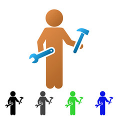 Child serviceman flat gradient icon vector