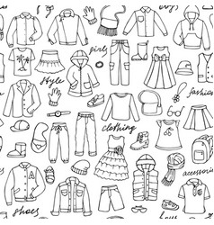 childish clothes and lettering doodle seamless vector image