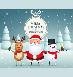 Christmas companions santa claus snowman and vector