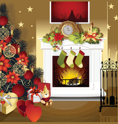 Christmas room with fireplace vector