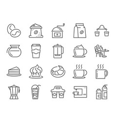 coffee shop icon set vector image